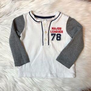 Carter's Raglan Henley Major Leaguer 78 White Gray